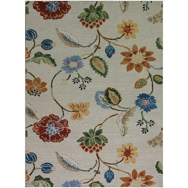Hand-Tufted White Floral Wool and Art Silk Area Rug (5' x 8')