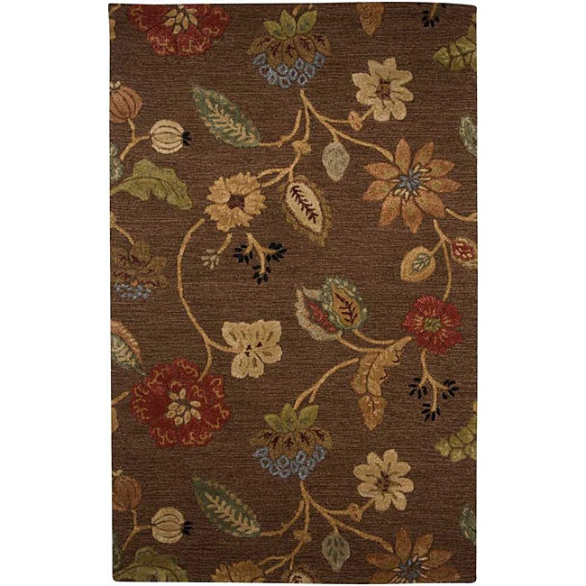 Hand-Tufted Brown Floral Wool and Art Silk Area Rug (3'6 X 5'6)