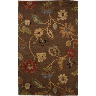 Hand-Tufted Brown Floral Wool and Art Silk Area Rug (5' X 8')