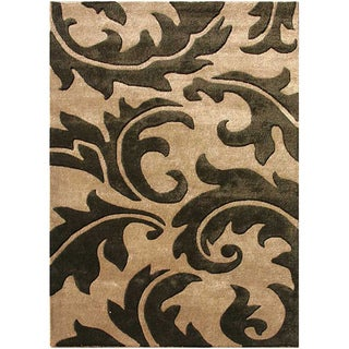 Hand-Tufted Sand Abstract Wool and Art Silk Area Rug (3'6 x 5'6)