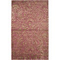 Abstract Contemporary Purple/Brown Hand-Tufted Wool & Art Silk Rug (8' x 11')