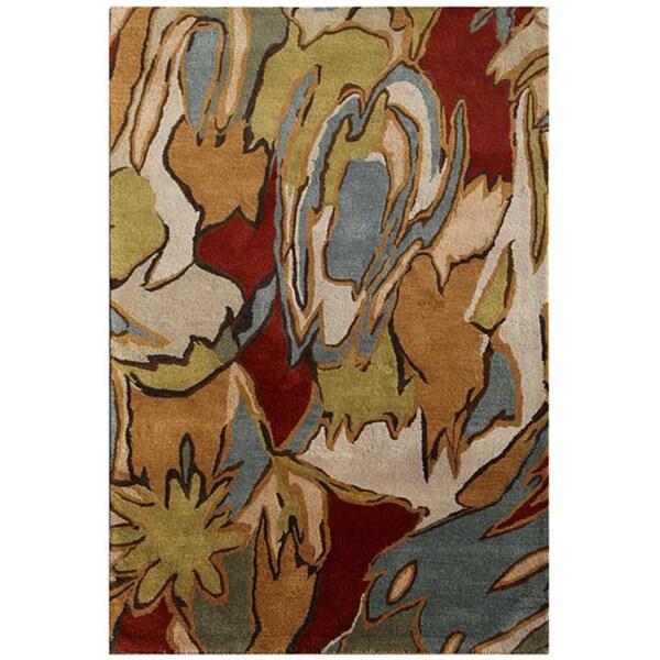 Hand-tufted Grey Abstract Wool Area Rug (8' x 11')