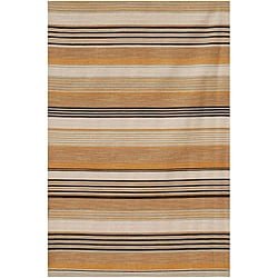 Flat Weave Striped Peach Wool Rug (9' x 12')