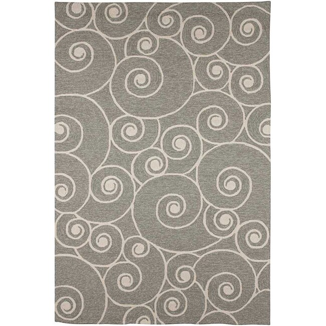 Hand-hooked Grey Contemporary Area Rug (3' 6 x 5' 6)