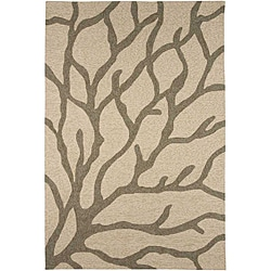 Hand-hooked Grey Indoor/ Outdoor Area Rug (2' x 3')