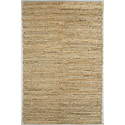 Hand-woven Brown Stripe Hemp Rug (8' x 10')