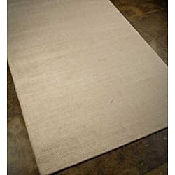 Hand-woven Wool and Art Silk Grey Rug (8' x 10')