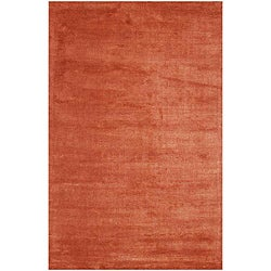 Hand-woven Wool and Art Silk Red Rug (8' x 10')