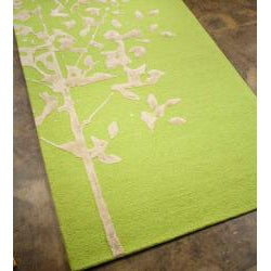 Hand-Tufted Green Wool and Art Silk Area Rug (8' x 11')