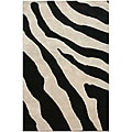 Hand-tufted Wool and Art Silk Zebra Print Rug (2' x 3')