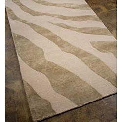 Hand-tufted Wool and Art Silk Grey Zebra Print Rug (2' x 3')