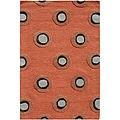Hand-tufted Wool and Art Silk Orange Circles Rug (5' x 8')