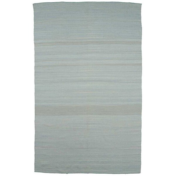 Flat Weave Solid Blue Wool Rug (5' x 8')
