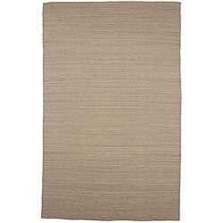 Flat-weave Sand Brown Wool Rug (5' x 8')