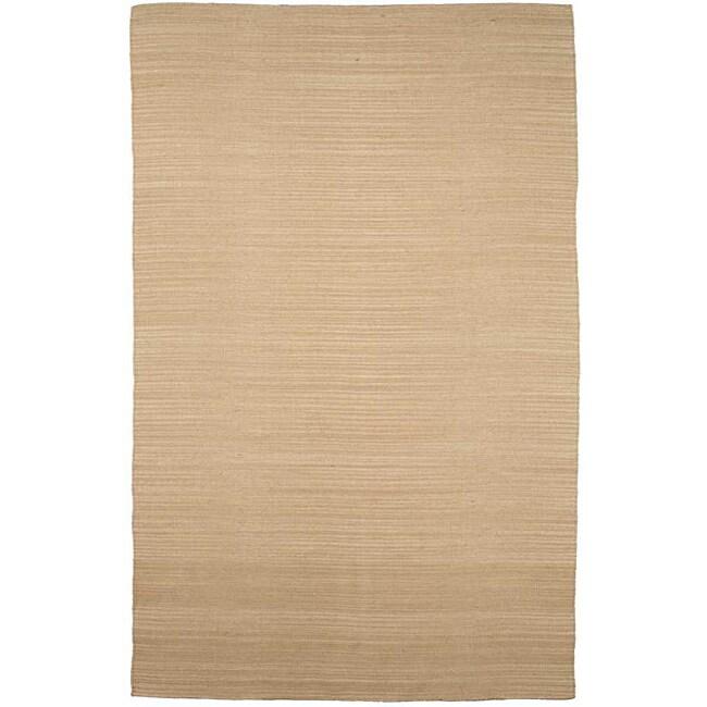 Flat Weave Cream Wool Rug (8' x 10')