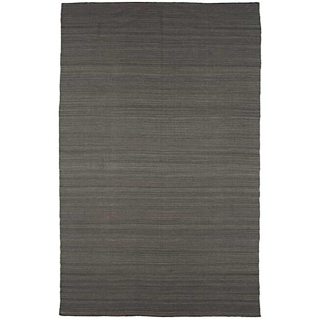 Flat Weave Grey Wool Rug (5' x 8')