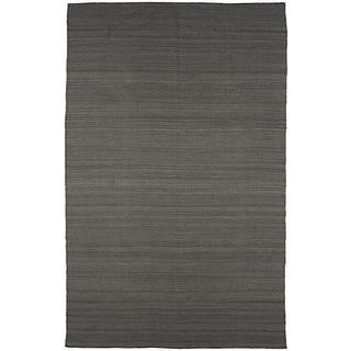 Flat Weave Grey Wool Rug (8' x 10')