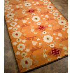 Hand-tufted Orange/ White Wool Rug (2' x 3')