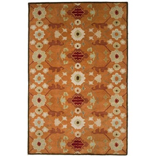 Hand-tufted Orange Wool Rug (8' x 11')