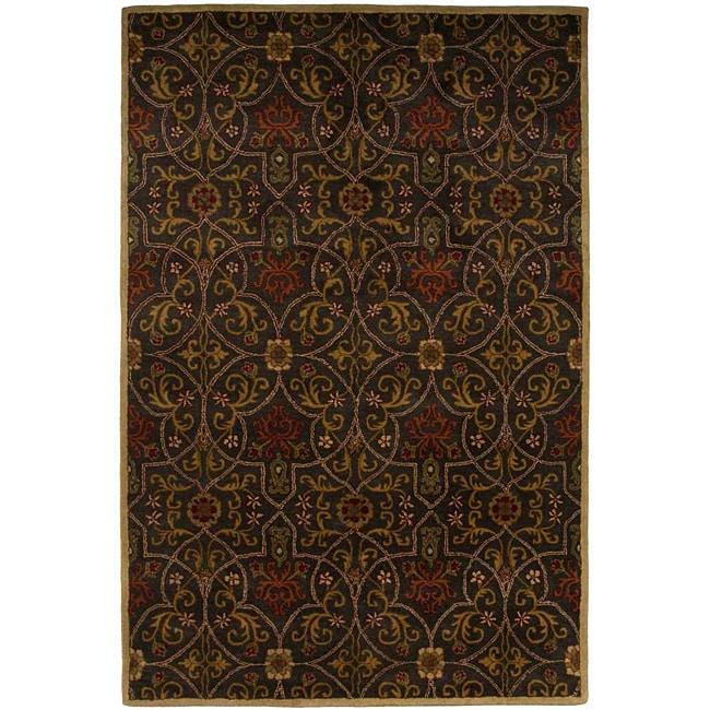 Hand-tufted Black/ Coffee Wool Rug (3'6 x 5'6)