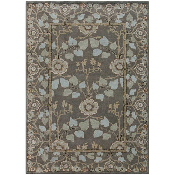Hand-Tufted Oriental Gray Wool Rug (5' x 8')
