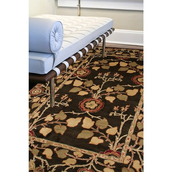 Hand-tufted Coffee Brown/ Red Wool Rug (9'6 x 13'6)