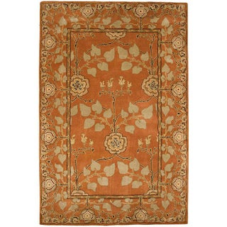 Hand-tufted Orange/ Beige Wool Rug (5' x 8')