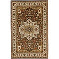 Traditional Hand-Tufted Brown Wool Rug (5' x 8')