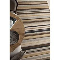 Flat Weave Green/ Ivory Striped Wool Rug (10' x 14')