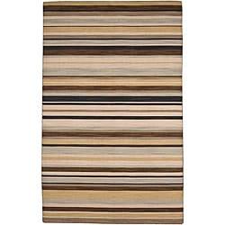 Flat Weave Ivory/ Black Wool Rug (9' x 12')
