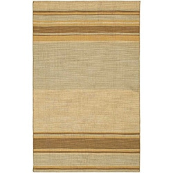 Flat Weave Grey/ Brown Wool Rug (9' x 12')