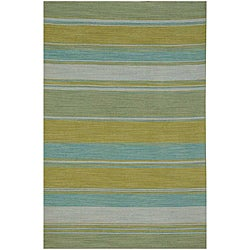 Flat Weave Green/ Yellow Wool Rug (9' x 12')