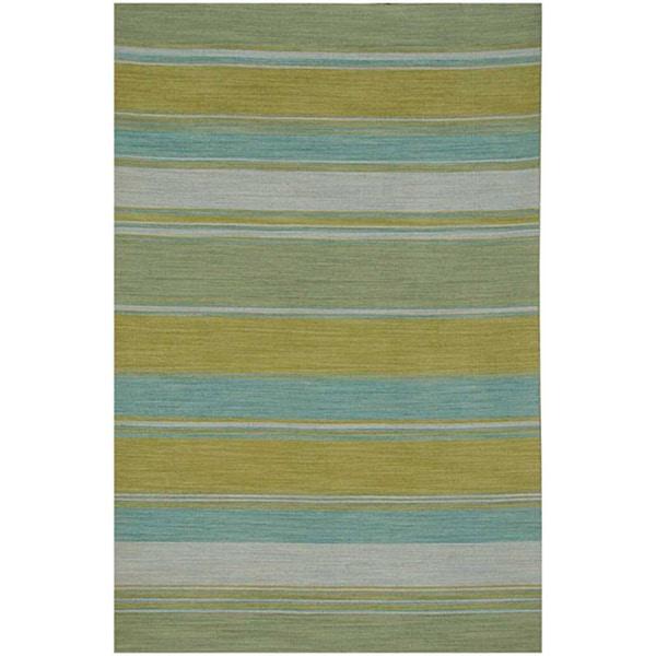 Flat Weave Green/ Yellow Wool Rug (9' x 12')