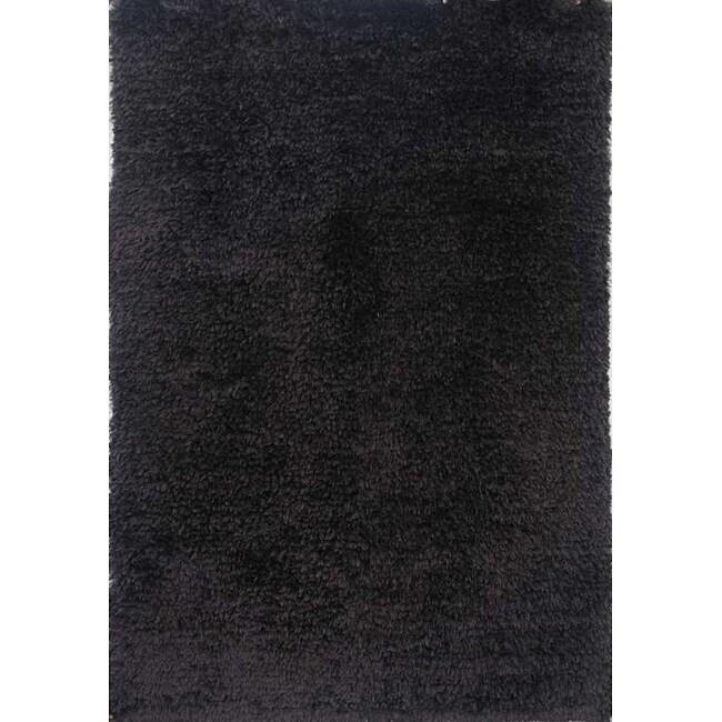 Hand-woven Black Shag Rug (5' x 8')
