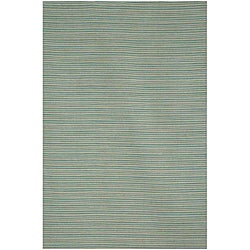 Flat Weave Green/ Grey Wool Rug (9' x 12')