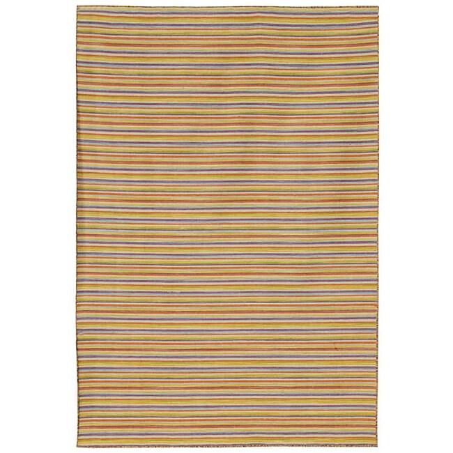Flat Weave Cream/ Yellow Wool Rug (10' x 14')