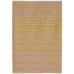 Flat Weave Cream/ Yellow Wool Rug (10' x 14')