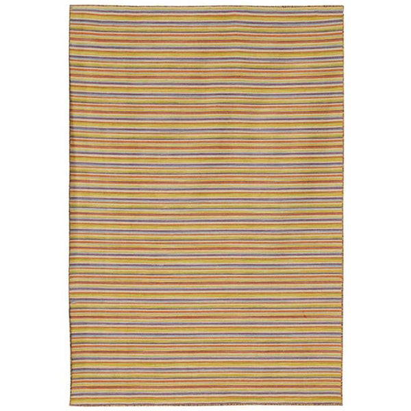 Flat Weave Cream/ Yellow Wool Rug (9' x 12')
