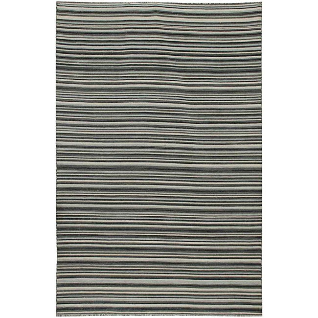 Flat Weave Black/ Grey Wool Rug (4' x 6')