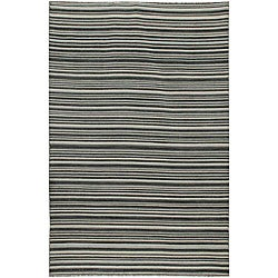 Flat Weave Black/ Grey Wool Rug (4' x 6')