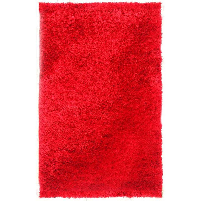 Hand-woven Red Shag Area Rug (8' x 10')