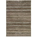 Handwoven Striped Grey Shag Area Rug (8' x 10')