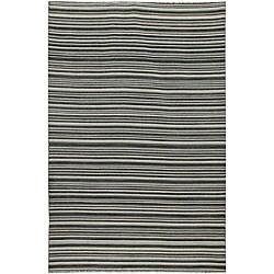 Flat Weave Black/ Grey Wool Rug (8' x 10')