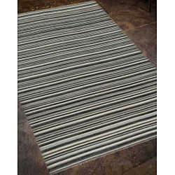Flat Weave Black/Grey Striped Wool Rug (9' x 12')