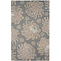 Hand-Tufted Grey/Brown Floral Wool Rug (5' x 8')
