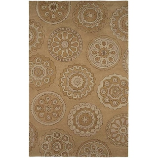 Hand-tufted Sand Brown Wool Rug (8' x 11')