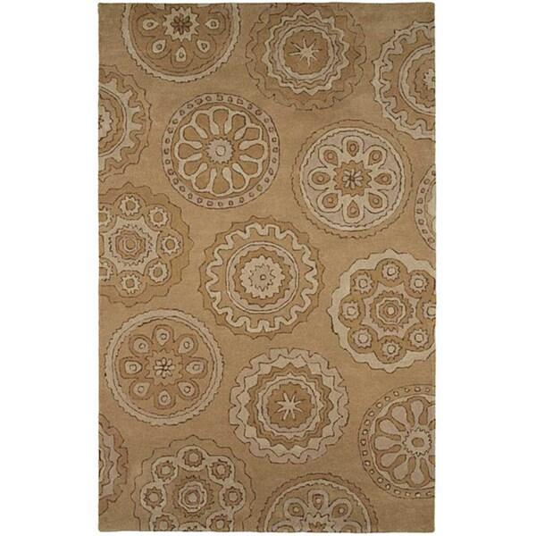 Hand-tufted Sand Brown Wool Rug (8' x 11')