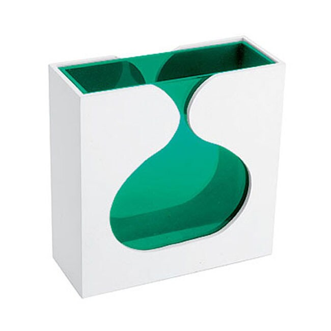 Green Glass Vase with White Wooden Case