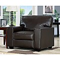 Dark Brown Faux Leather Accent Chair