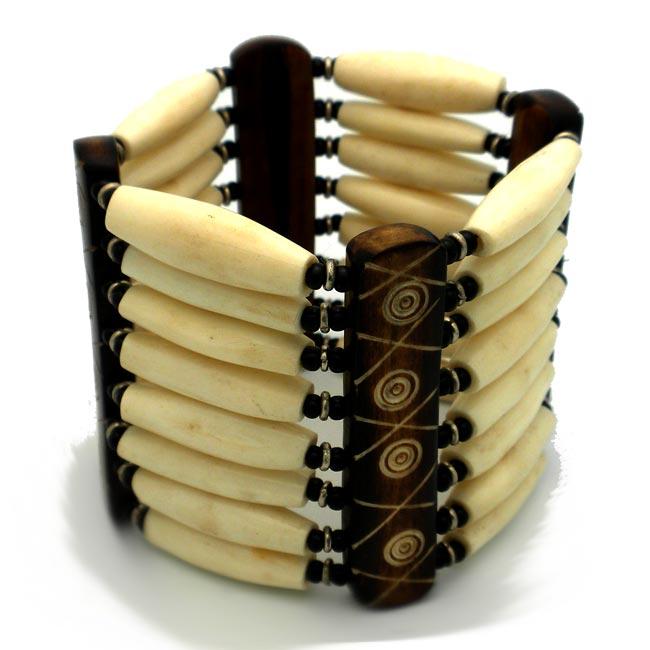 Polished Cream Bone and Bead Bracelet (Kenya)